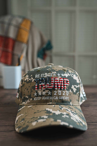 """Re-Elect Trump 2020 - Keep America Great"" Hat.  Digital Camo"