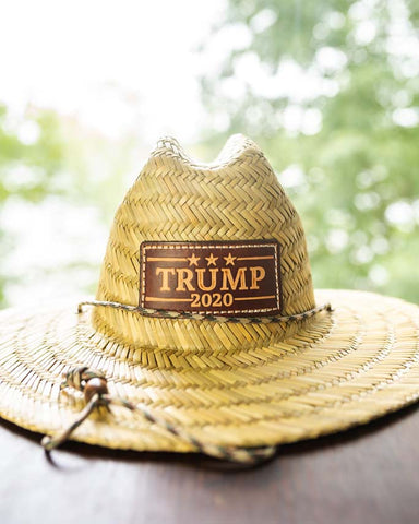 This Straw Hat features a Trump 2020 leather patch that is custom made in USA, hand cut, hand stamped leather.  One size.