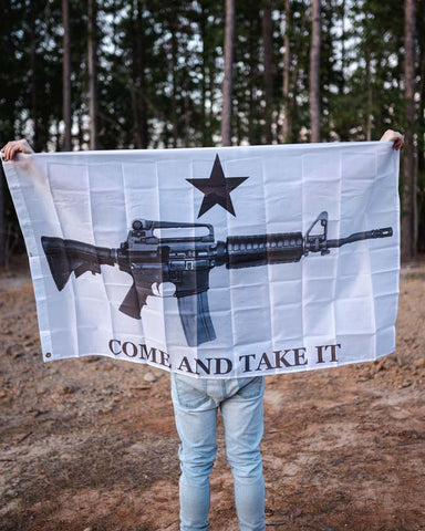 Come and Take It Flag. Made of durable nylon, measures 3' x 5'.