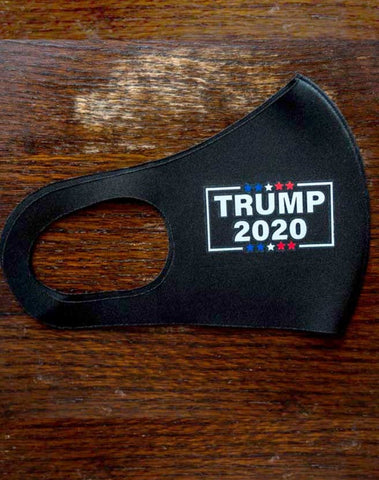 Trump 2020 protective face mask in Black Neoprene fabric.  One size.