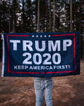 Trump 2020 Keep America First Flag.  Measures 3' x 5'.  Made of durable nylon.  This flag is double-sided.