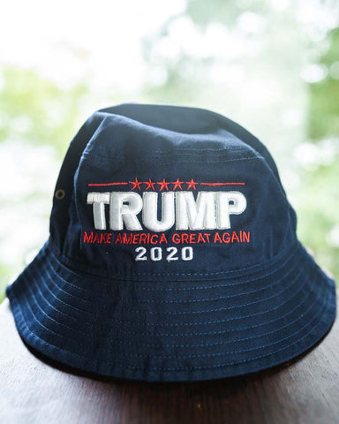 Trump 2020 MAGA Bucket Hat in Navy Blue, White embroidery - BuyTrumpStuff.today