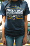 Border Wall Construction Co. T-Shirt NAVY BLUE Short-Sleeve-Crew-Neck-T Shirt