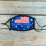 Face Mask with Flag Design and Make America Safe Again - Red, White, and Blue with Black Straps