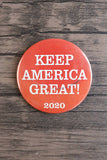 Keep America Great! 2020 / Trump Supporter Pin (white on red)