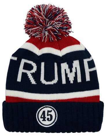 "Warm and cozy knit hat with ""TRUMP"" and a round ""45"" patch.  Available in Red or Navy Blue with a multi-colored red, white, and blue pom on top.  One size."