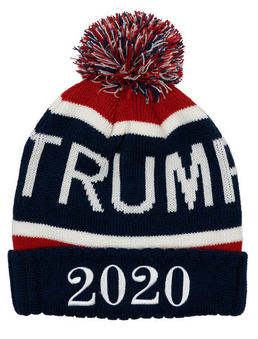 "Keep your head warm this winter in a great looking ""Trump 2020"" Knit Hat for cold weather.  This hat has a multi-colored pom atop, and 2020 embroidered in white.  Available in Navy Blue.  One size."