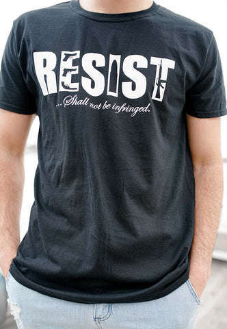 "Resist ""....Shall not be infringed."" T Shirt in Short-Sleeve, Crew-Neck.  Available in Black with white print.  Size S-XXXXL."