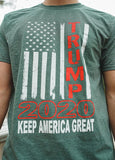 "Vertical American Flag ""Trump 2020 Keep America Great!"" Short Sleeve T Shirt.  ARMY GREEN.  Size S-XXXXL. #KeepAmericaGreat!"