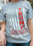 "Vertical American Flag ""Trump 2020 Keep America Great!"" Short Sleeve T Shirt.  GREY.  Size S-XXXXL. #KeepAmericaGreat!"