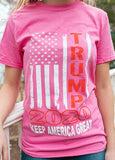 "Vertical American Flag ""Trump 2020 Keep America Great!"" Short Sleeve T Shirt.  PINK.  Size S-XXXXL. #KeepAmericaGreat!"