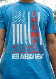 "Vertical American Flag ""Trump 2020 Keep America Great!"" Short Sleeve T Shirt.  TEAL BLUE.  Size S-XXXXL. #KeepAmericaGreat!"