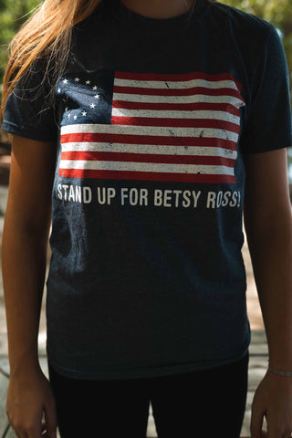 STAND UP FOR BETSY ROSS Short-Sleeve T-Shirt.  Available in Navy Blue.  Size S-XXXXL.
