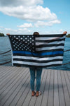 This spectacular Blue Lives Police Force Tribute Flag measures 3' x 5'.  Made of durable nylon.