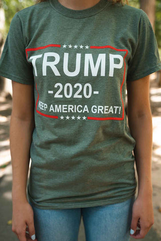 """TRUMP 2020 Keep America Great"" T Shirt.  ARMY GREEN.  Size S-XXXXL"