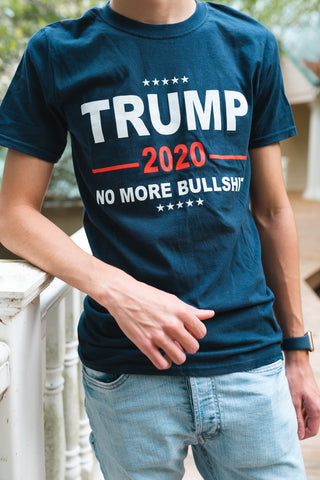 Trump 2020 No More Bullsh!% Short Sleeve Crew Neck T Shirt (Blue)