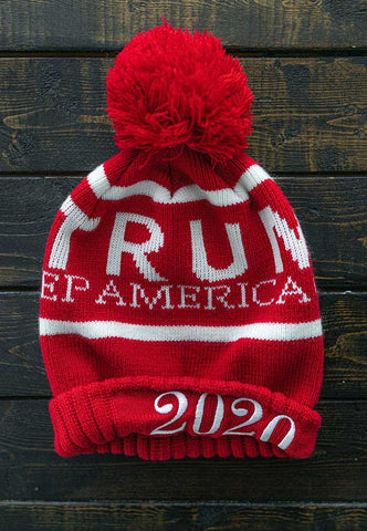 Red and White Trump 2020 Keep America Great Knit Hat for Winter. One Size. Make Winter Warm Again.