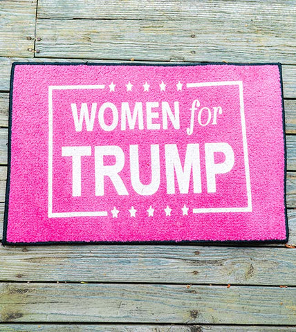 Women for Trump Welcome Mat - Pink with White lettering - Adorn the floor of any area with this patriotic design.