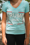 Trump 2020 Keep America Great! Women's Short-Sleeve V-Neck T-Shirt (BABY BLUE, light print)