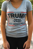 Trump 2020 Keep America Great! Women's Short-Sleeve V-Neck T-Shirt (HEATHER GRAY, dark print)