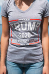 Trump 2020 Keep America Great! Women's Short-Sleeve V-Neck T-Shirt (HEATHER GRAY, light print)