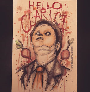 15x22 Hello, Clarice Original Pen/Pencil/Watercolor Painting