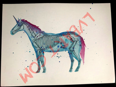 Unicorn Skeleton 11x15 ORIGINAL Artwork