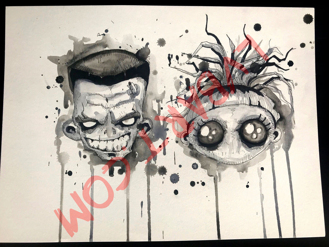 Ninja and Yolandi 11x15 ORIGINAL Artwork