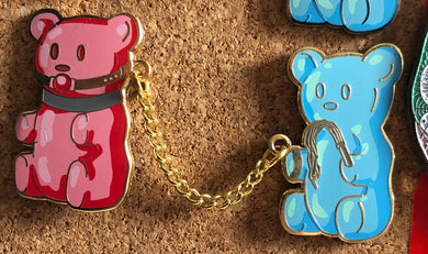 BDSM Gummy Bears double pins (gold chain) Enamel Pins