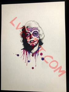 Sugar Skull Monroe 11x15 ORIGINAL Artwork