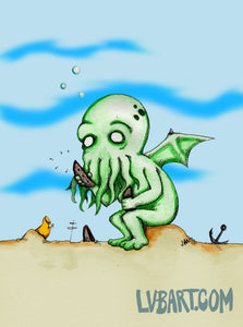 Cthulhu At Play Fine Art Print