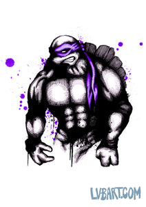 Teenage Mutant Splatter Turtle Purple Fine Art Print