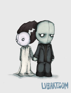 Frankenstein & Bride Plushies Fine Art Print