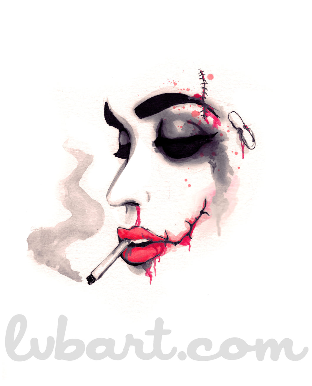 Bloody Cigarette Fine Art Print