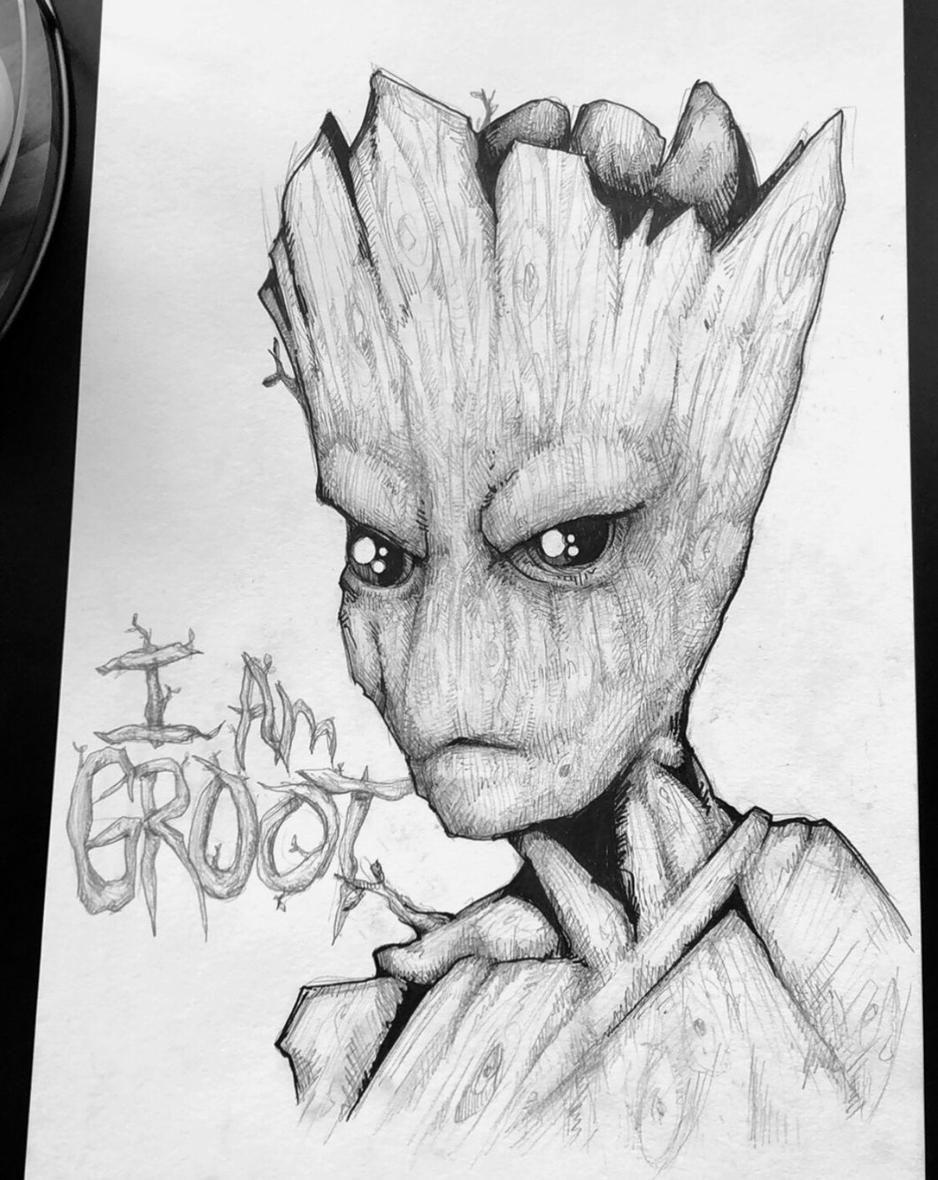 15x22 Groot Original Pen & Pencil Sketch