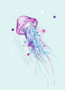 Jellyfish Watercolor 2.0 Fine Art Print