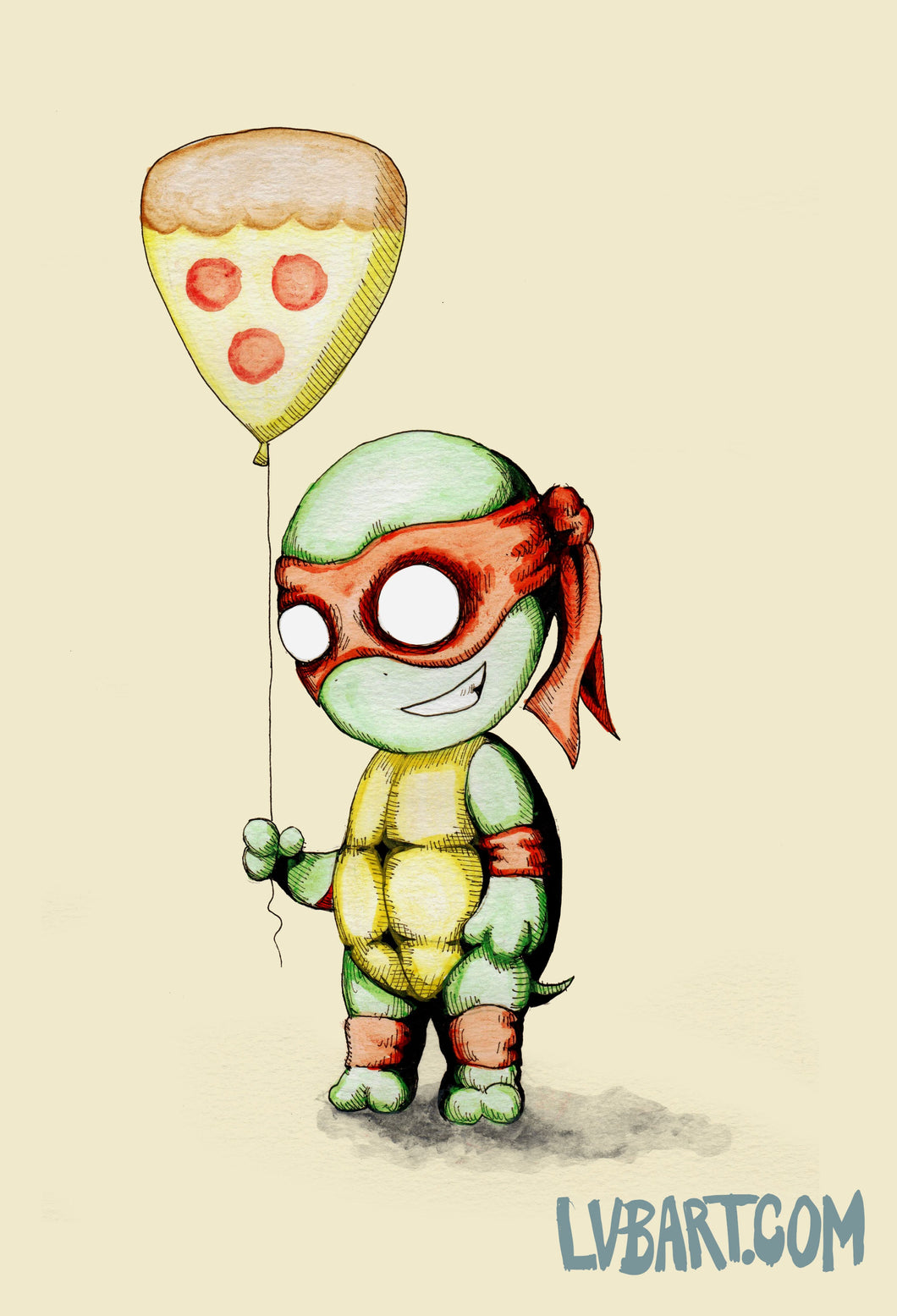 Mikey With Pizza Balloon Fine Art Print