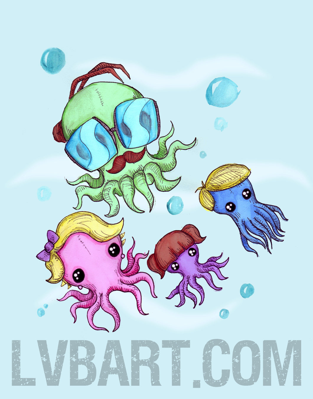 Octopus Family Fine Art Print