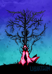 Red Riding Hood Wolf Tree Fine Art Print