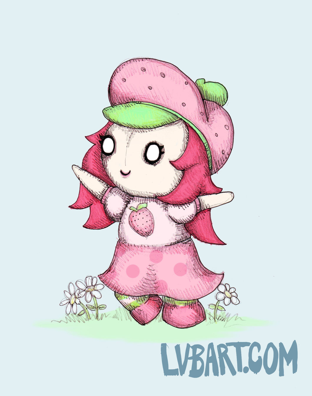 Strawberry Plushcake Fine Art Print