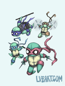 Teenage Mutant Ninja Plushies 3.0 Fine Art Print