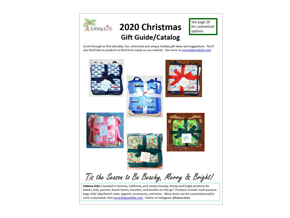 kabana kids christmas catalog, holiday gift guide, gifts for babies, kids, moms, new parents, families, travelers