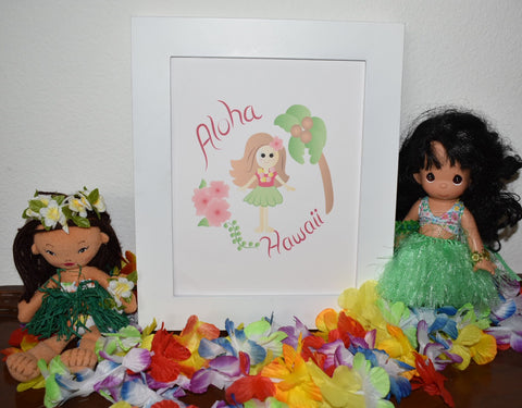 hula girl baby room printable art