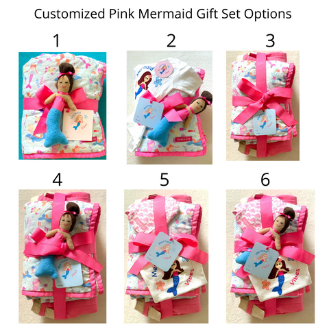 customized mermaid baby gift set