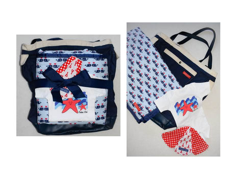 red white and blue baby gift set