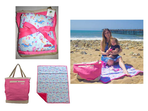 pink mermaid bag and mat bundle