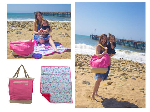 pink bag and mermaid mat
