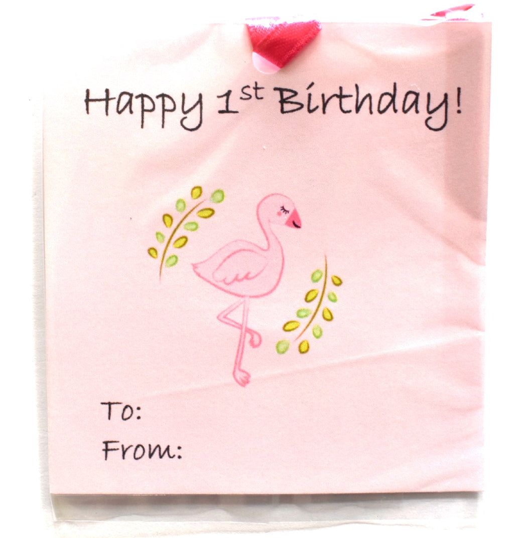 Gift Tag - Pink Flamingo - Happy 1st Birthday