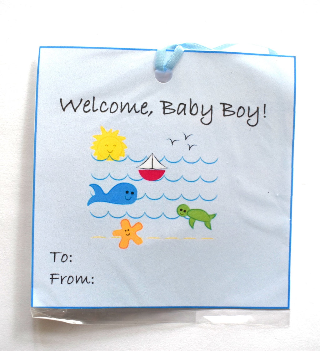 Gift Tag - Welcome Baby Boy, Beach