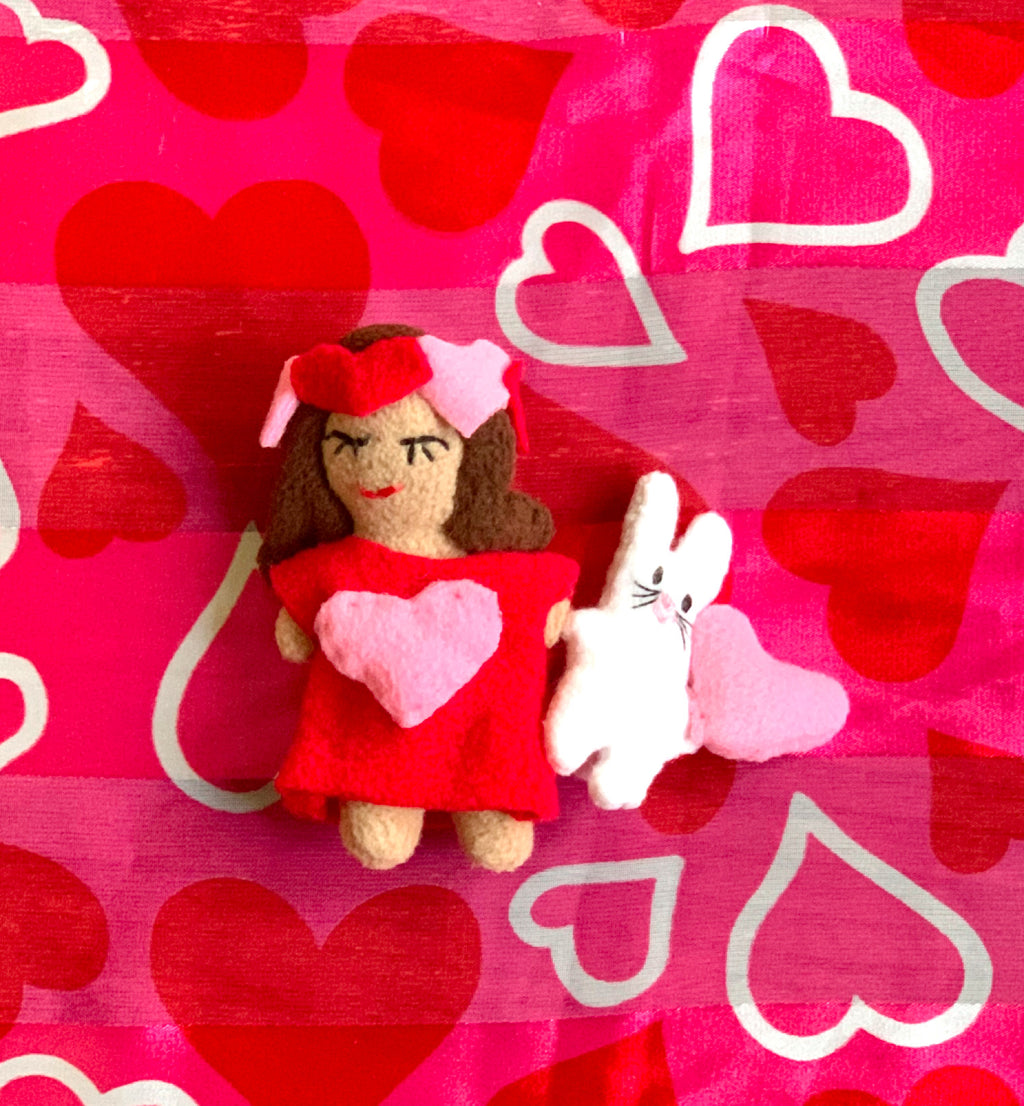 Valentine's Day Girl Doll (Brown Hair) and Lovey Bunny